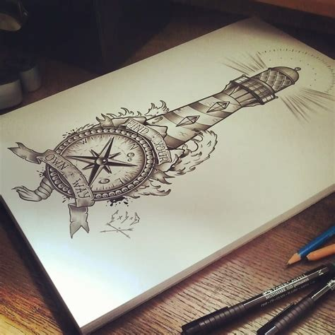 lighthouse tattoo design nautical compass and lighthouse design