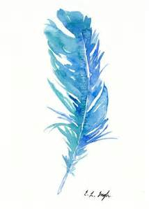 water color feather blue teal bird feather original watercolor painting 5x7