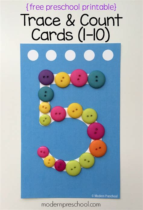 cards for preschoolers preschool trace count number cards free printable