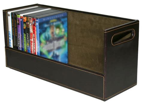dvd storage container faux leather stacking dvd storage shelf brown in media