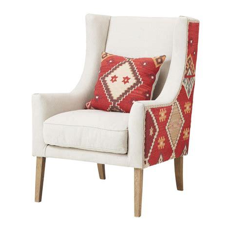 kilim armchair linen living room armchair kilim maisons du monde