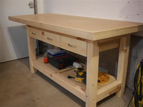 workshop bench top workbench with plywood and hardboard top by benoitm