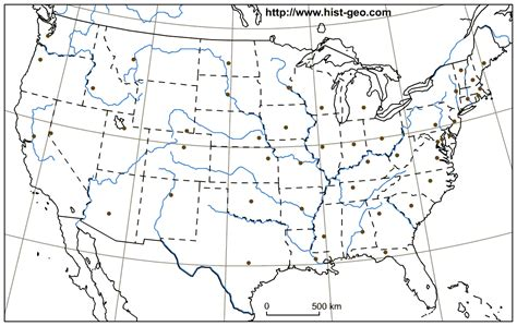 us map outline with capitals outline map of the usa with american states rivers