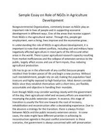 sample essay on role of ng os in agriculture development
