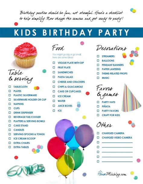 birthday checklist birthdays birthday