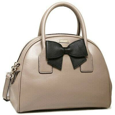 kate spade hanover street leather lorin satchel handbag warm putty black nwt ebay