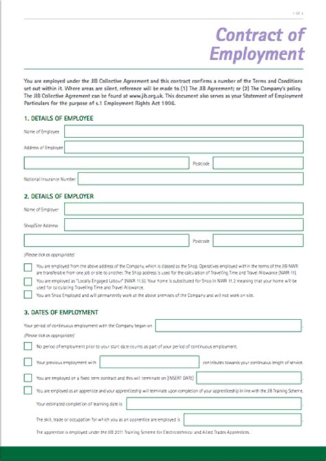 standard contract of employment template template contract of employment joint industry board
