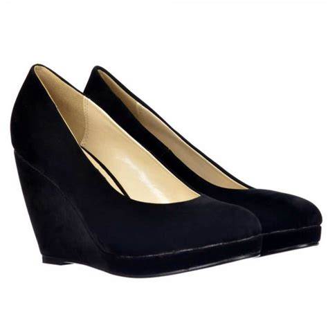 shoekandi mid low heel wedge court shoes black suede
