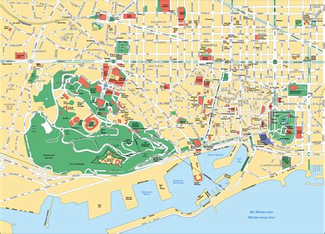 printable map barcelona city centre map of barcelona tourist attractions sightseeing