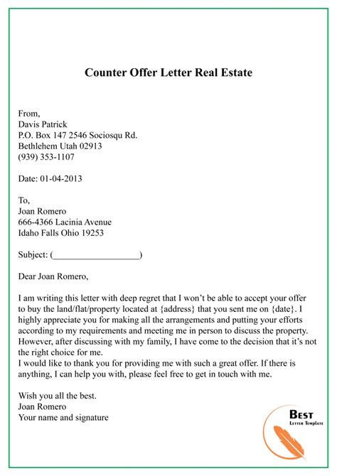 counter offer letter template sample