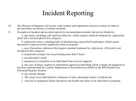 Incident Report Letter For Shortage Incident Reporting