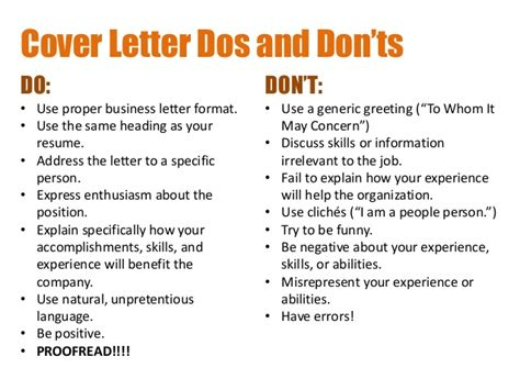Resume Cover Letter Do S And Don Ts Creating Resumes And Cover Letters