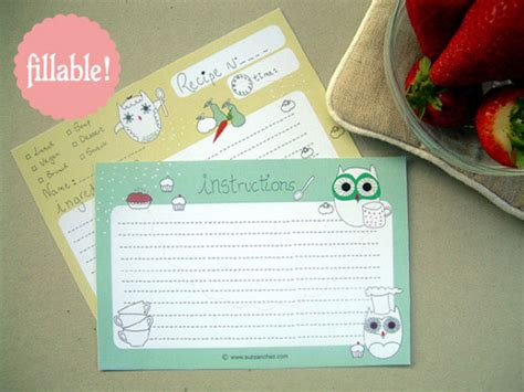 fillable recipe card template my owl barn printable and fillable owl recipe card
