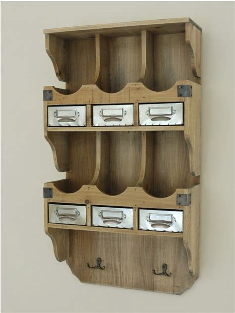 Vintage Wall Shelf With Hooks by Industrial Vintage Wall Shelf Storage With Drawers And