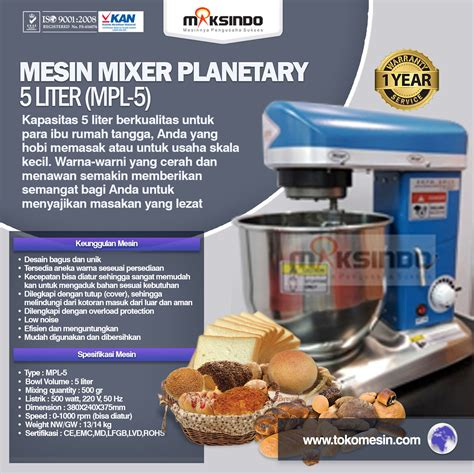 Mixer Roti 7 Liter mesin mixer roti kue bakery model planetary terbaru toko