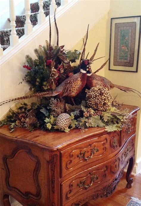 fall centerpieces with feathers autumn cottage pheasant floral centerpiece table or sideboard arrangement floral