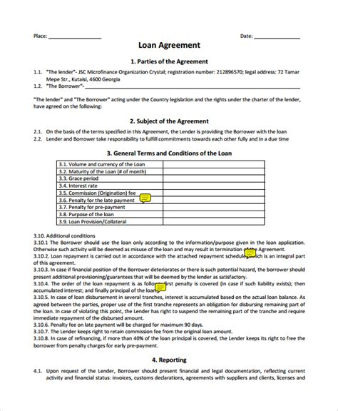 business loan contract template sle business loan agreement 6 free documents