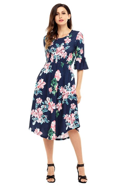 Floral Sleeve Midi Dress navy blue 3 4 bell sleeve floral midi dress wholesale