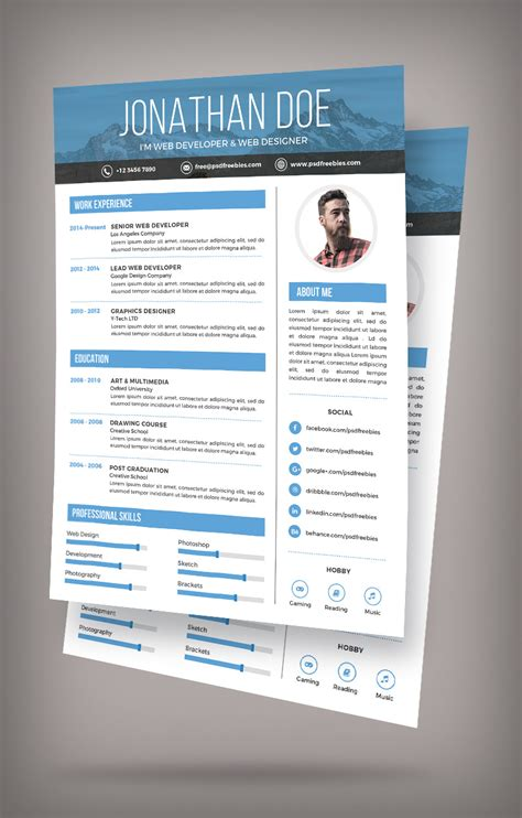 simple resume template psd free simple resume design template for web graphic