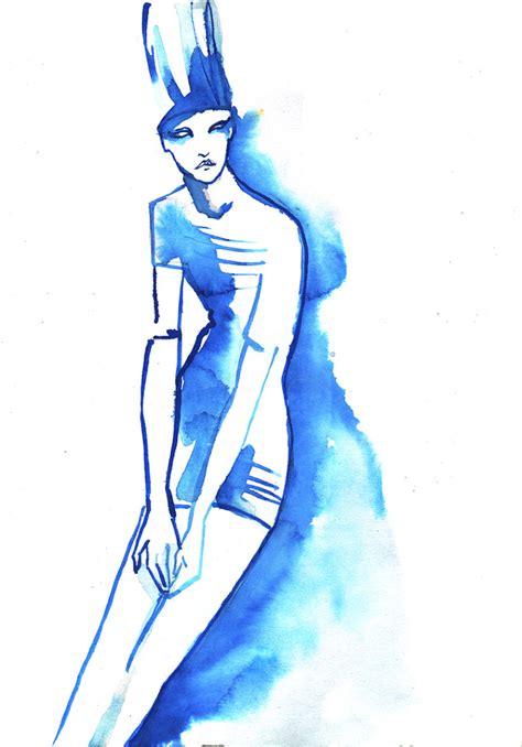 Fashion Blue blue ink fashion illustration baiba ladiga illustration