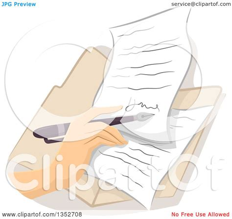 signing a letter clipart of a signing a contract or letter royalty 1624
