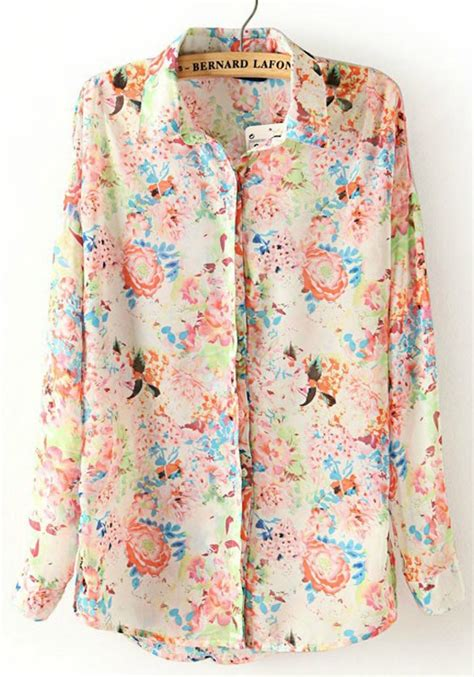 Floral Sleeve Chiffon Blouse multicolor floral print lapel sleeve chiffon blouse
