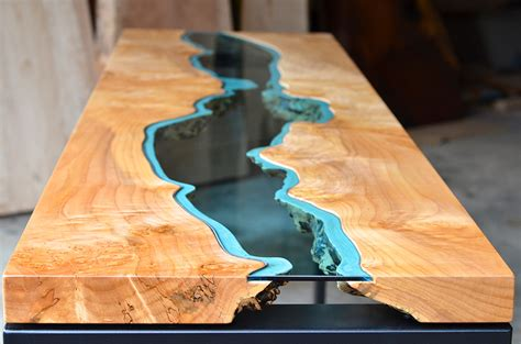 River Table table topography wood furniture embedded with glass rivers and lakes by greg klassen colossal