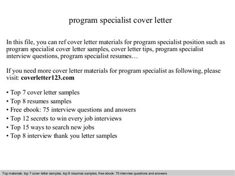 Curriculum Specialist Cover Letter by Program Specialist Cover Letter