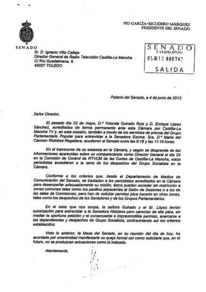 carta formal queja el senado expresa a rtvcm su quot queja formal quot despu 233 s de que dos periodistas se acercasen a
