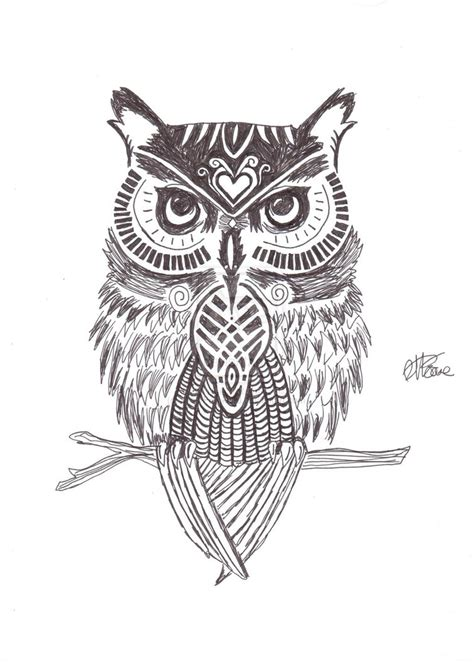 stylised owl tattoo drawing
