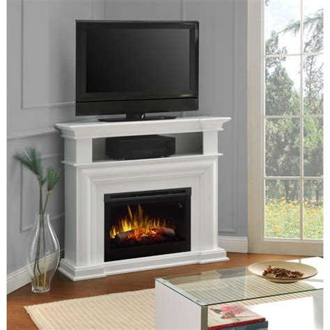 White Electric Fireplace Tv Stand Dimplex Colleen Corner Tv Stand With Electric Fireplace In White Dfp25l5 1537w