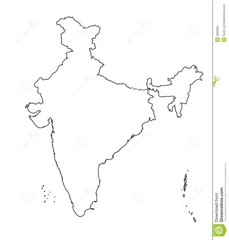 India Physical Map Outline In A4 Size by Map Of India Outline Authentic Stock Photography Image 4933962