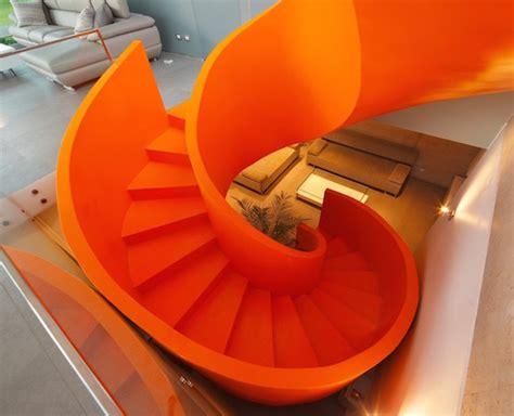 Staircases flashy orange staircase in modern home 1 fubiz media
