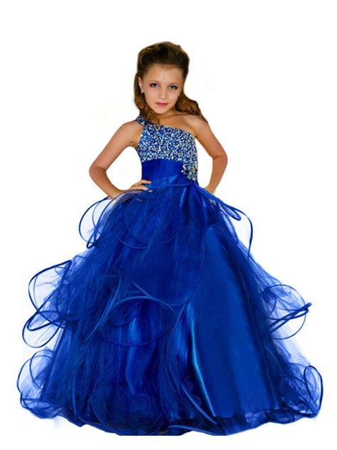 01 Princess Dress beaded one shoulder blue princess gown flower