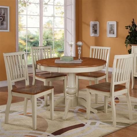 candice 5 pc pedestal table with chair dining set by