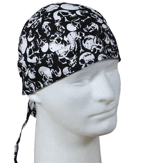 skull cap hair style cotton biker headwrap black skull pattern do rag bandana 2