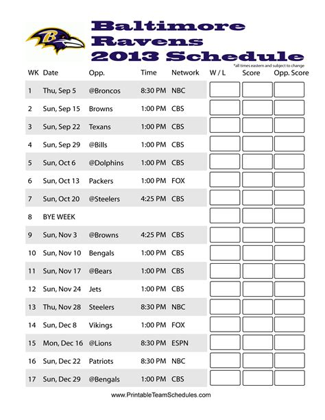printable ravens schedule baltimore ravens schedule 2013 baltimore orioles