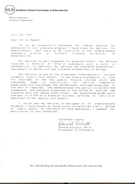 Sle College Letter Of Recommendation From Alumni sle recommendation letter for graduate school sle