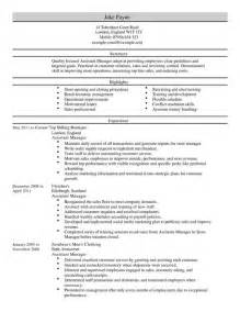 Resume For Retail Assistant Manager by Assistant Manager Cv Exle For Retail Livecareer