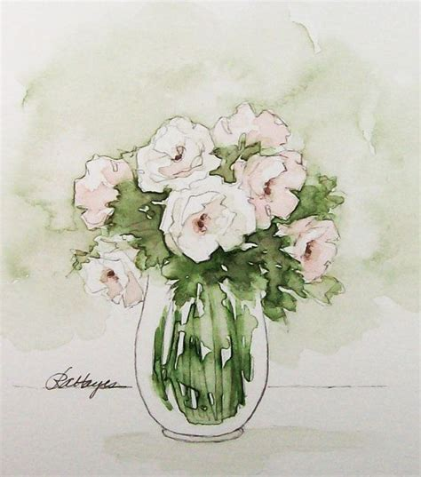 pink and white roses original watercolor painting flowers floral white roses watercolors and