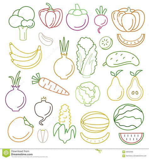 vegetables 5 lines line vector graphical fancy food set of fruit and