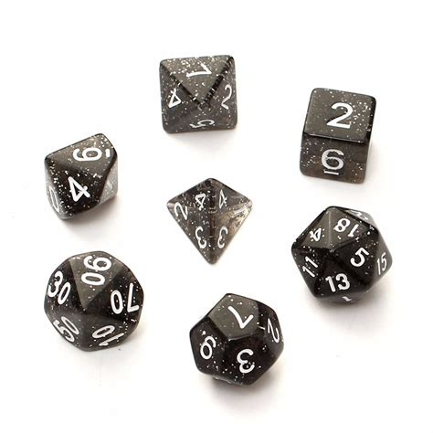 Dice 20 Sided Black 7pcs trpg dungeons dragons glitter d4 d20 multi sides dice black lazada malaysia