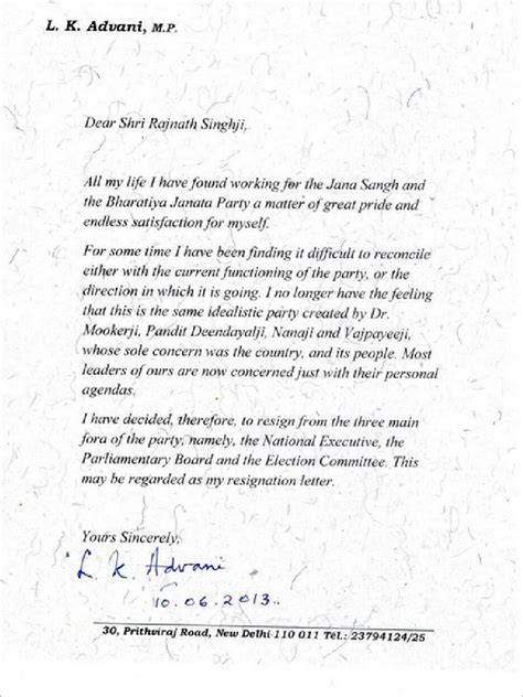 Resignation Letter Bittersweet Our Leaders Are Of Personal Agendas Read Advani S Bitter Resignation Letter India News