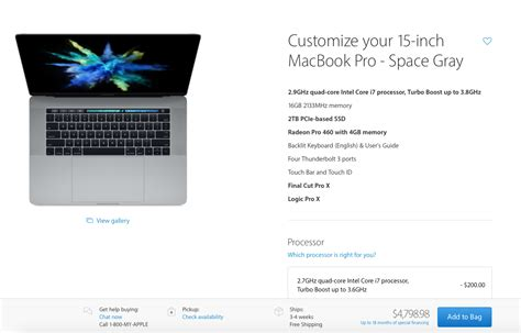Macbook Pro Touch Bar 15 Inch 2016 macbook pro pricing for highest end models which
