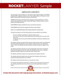 arbitration agreement form sle arbitration agreement