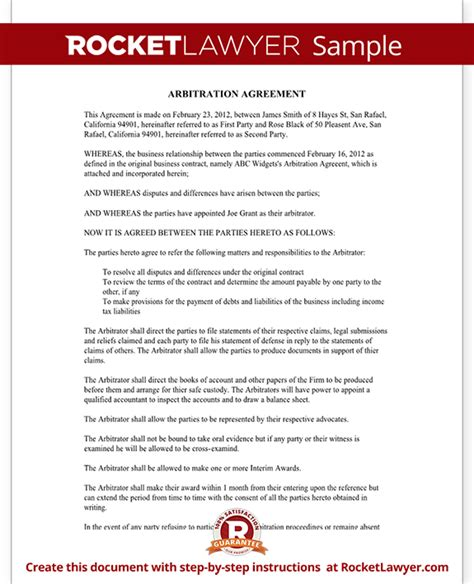 arbitration template arbitration agreement form sle arbitration agreement