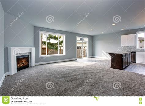 grey house interior grey house interior of living room connected with kitchen room stock photo image