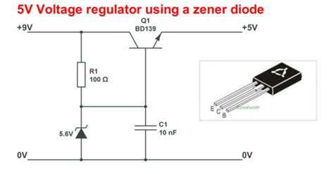voltage regulator using zener diode and bjt circuitlab 5v voltage regulator using a zener diode diy electronics picaxe raspberry pi