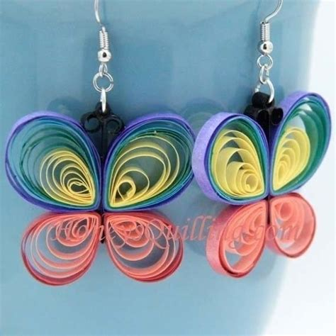 paper craft earrings paper quilled rainbow butterfly 183 how to make a set of