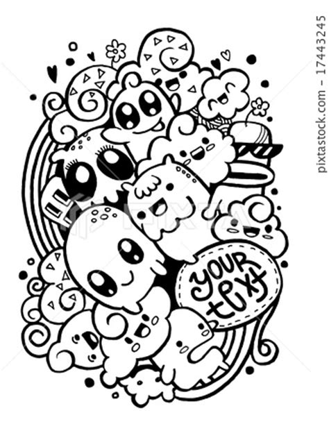 doodle groups of happy doodle drawing style stock